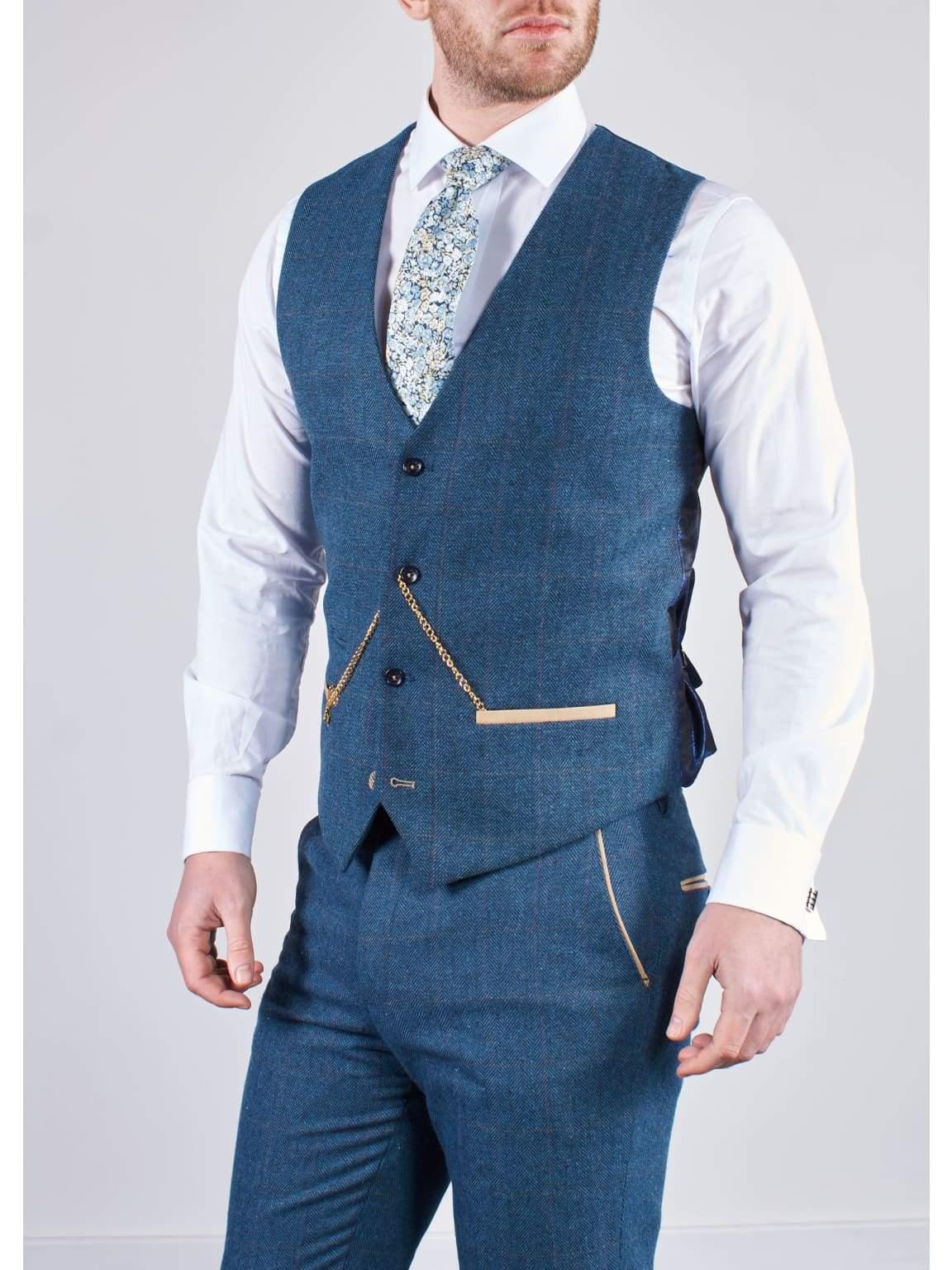 Marc Darcy Dion Men/'s Blue Slim Fit Check Tweed Waistcoat
