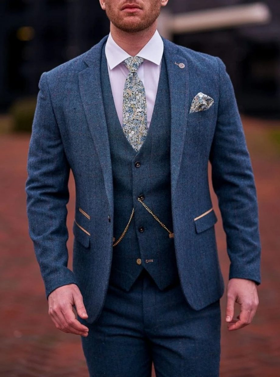 Marc Darcy Dion Mens 3 Piece Blue Slim Fit Check Tweed Suit - 36R / 30R - Suit & Tailoring