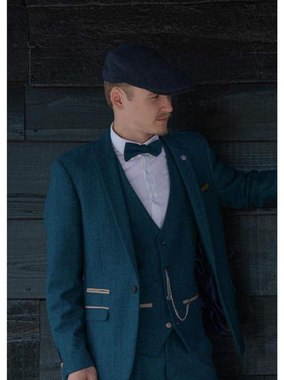 Marc Darcy Dion Mens Blue Slim Fit Check Tweed Blazer - 34R - Suit & Tailoring
