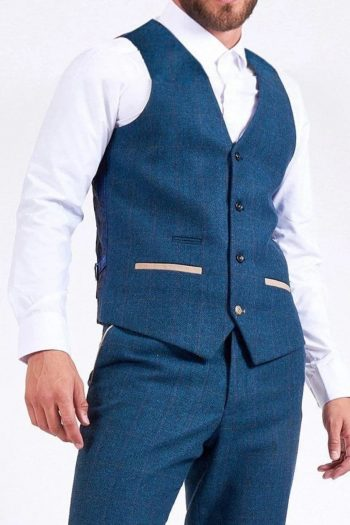 Marc Darcy Dion Mens Blue Slim Fit Check Tweed Waistcoat - Suit & Tailoring