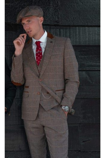 Marc Darcy DX7 Mens Tan Heritage Tweed Check Blazer - Suit & Tailoring