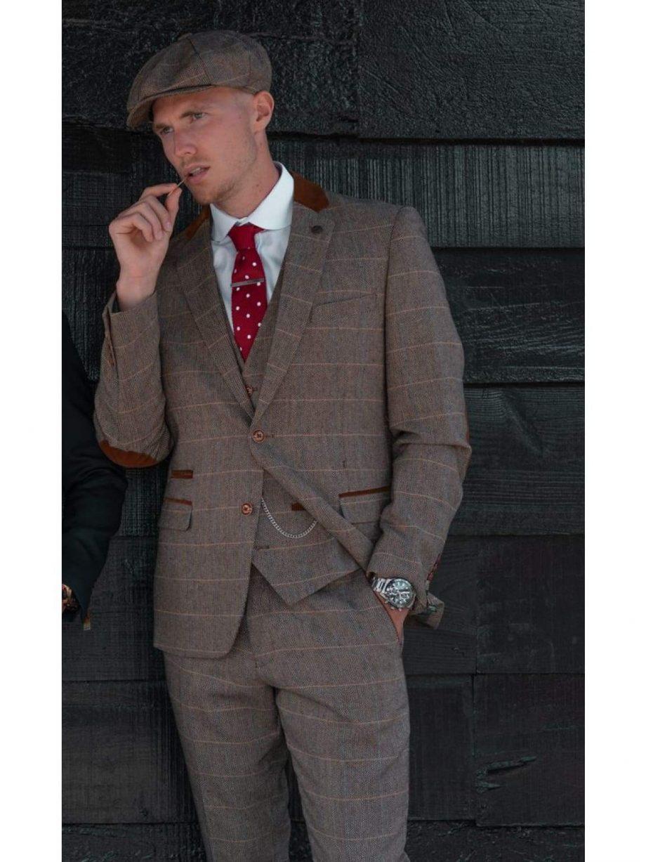 Marc Darcy DX7 Mens Tan Heritage Tweed Check Blazer - Suit & Tailoring