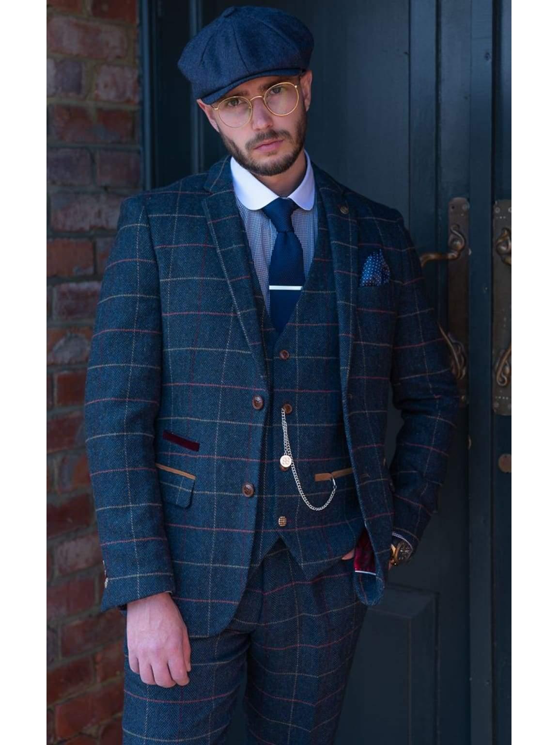 Marc Darcy Eton Mens 3 Piece Blue Slim Fit Tweed Suit - Suit & Tailoring