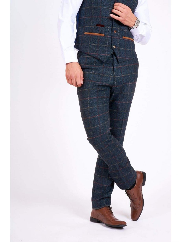 Marc Darcy Eton Mens Blue Slim Fit Tweed Check Suit Trousers - Suit & Tailoring