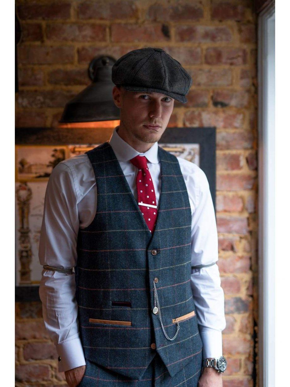 Marc Darcy Eton Mens Blue Slim Fit Tweed Check Suit Waistcoat - 34R | EU44 - Suit & Tailoring