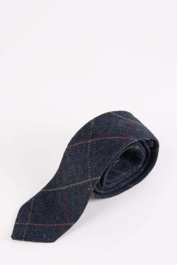 Marc Darcy Eton Navy Blue Check Tweed Tie - Accessories