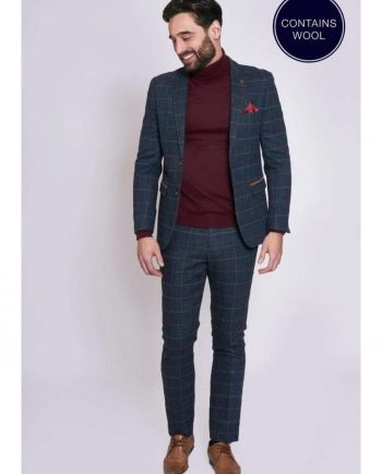 Marc Darcy ETON Navy Blue Tweed Check Two Piece Suit - Suit & Tailoring