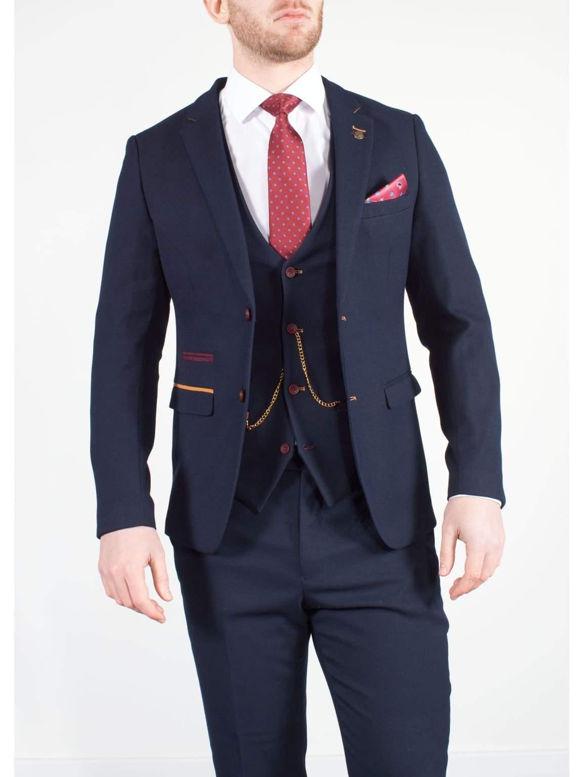 Marc Darcy JD4 Mens 3 Piece Navy Slim Fit Birds Eye Suit - Suit & Tailoring