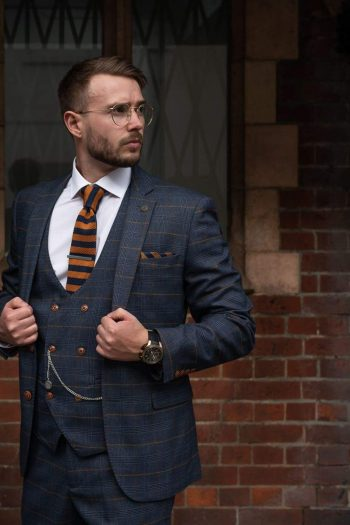 Marc Darcy Jenson Marine Navy Check Suit With Double Breasted Waistcoat - 36R / 30R - Suit & Tailoring