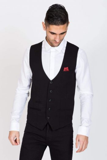 Marc Darcy Kelly Mens Black Single Breasted Waistcoat - Suit & Tailoring
