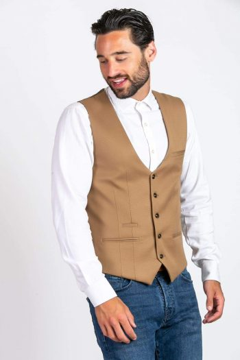 Marc Darcy Kelly Mens Tan Single Breasted Waistcoat - Suit & Tailoring