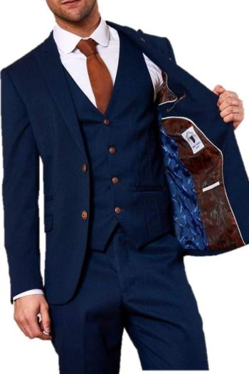 Marc Darcy Max Mens Royal Blue Three Piece Suit - 36R / 30R - Suit & Tailoring