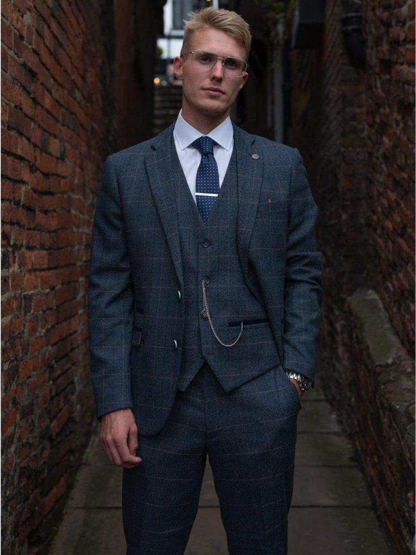 Marc Darcy Scott Blue Check Three Piece Suit - Suit & Tailoring