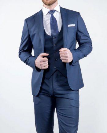Marco Prince Grande Mens 3 Piece Blue Slim Fit Textured Suit - Suit & Tailoring