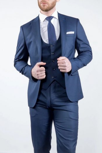 Marco Prince Grande Mens 3 Piece Blue Slim Fit Textured Suit - Suit & Tailoring