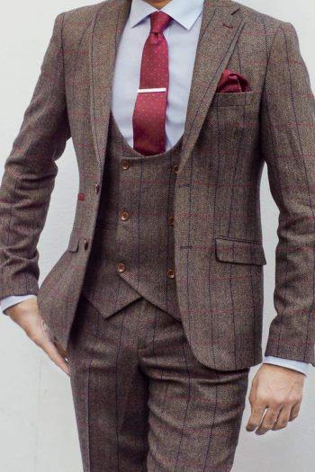 Marco Prince Ronan Mens 3 Piece Brown Slim Fit Check Tweed Suit - 36R / 30R - Suit & Tailoring