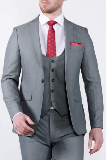 Marco Prince Sage Mens 3 Piece Green Slim Fit Textured Suit - 36R - Suit & Tailoring