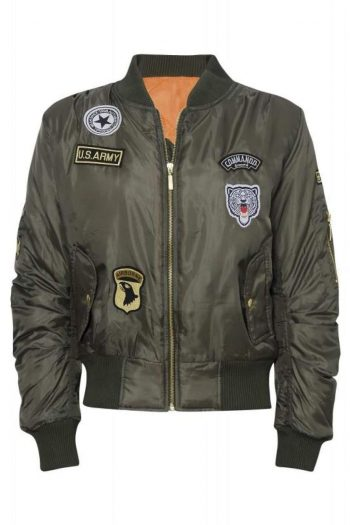 Marco Prince Womens Celebrity Badged Classic Padded Bomber Jacket In Khaki - XS - FOR HER