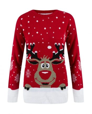 Marco Prince Womens Christmas Rudolph Reindeer Snow Flake Jumper In Red - S/M - FOR HER