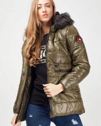 Marco Prince Womens Faux Fur Hood Padded Jacket In Khaki - S - FOR HER