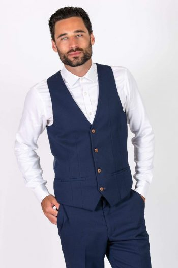 MAX - Royal Blue Single Breasted Waistcoat - 34R - Suit & Tailoring