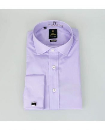 Mens Classic Collar Double Cuff Lilac Slim Fit Shirt by Cavani - UK 14.5 | EU 37 - Shirts