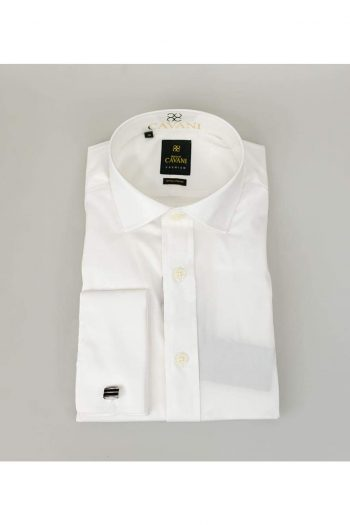 Mens Classic Collar Double Cuff White Slim Fit Shirt by Cavani - UK 14.5 | EU 37 - Shirts