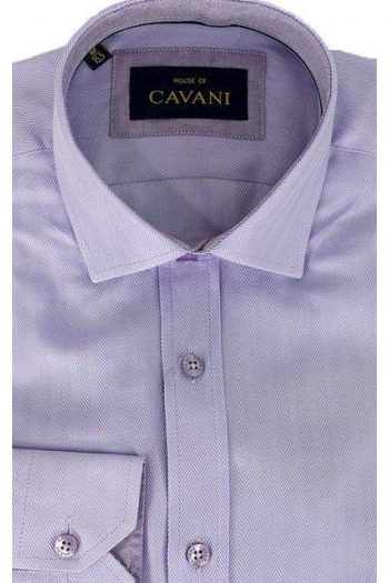 Mens Classic Collar Lilac Herringbone Shirt by Cavani - Shirts