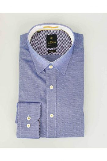 Mens Classic Collar Mid-blue Oxford Stretch Shirt by Cavani - Shirts
