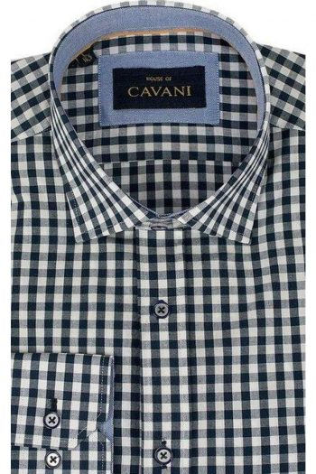 Mens Classic Collar Navy Gingham Shirt by Cavani - Shirts