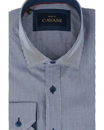 Mens Classic Collar Navy Gingham Slim Fit Shirt by Cavani - M - Shirts