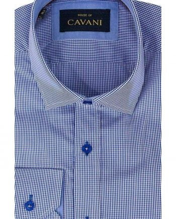 Mens Classic Collar Royal Blue Gingham Slim Fit Shirt by Cavani - Shirts
