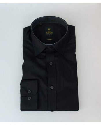 Mens Easy Iron Black Slim Fit Shirt by Cavani - Shirts
