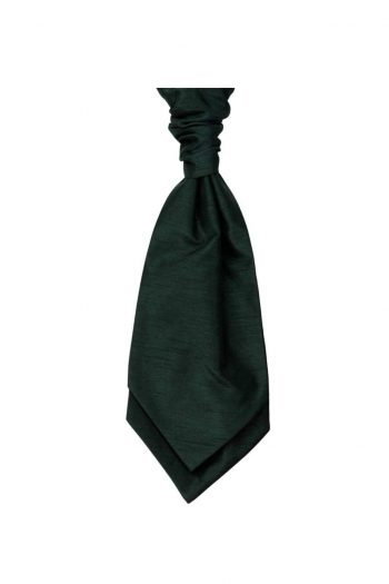 Mens LA Smith BOTTLE GREEN Wedding Cravat - Accessories