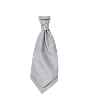 Mens LA Smith SILVER Wedding Cravat - Adult Self Tie Cravat - Accessories