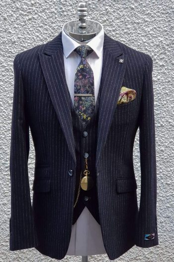 Mens Navy Pin Stripe Tweed Three Piece Suit - Suit & Tailoring