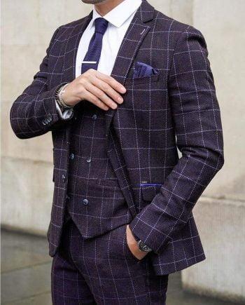 Mens Three Piece Skinny Fit Tweed Suit Cavani Kerber - 36R / 30R - Suit & Tailoring