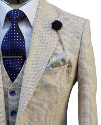 Mens Wedding 3 Piece Slim Fit Suit Cream Cavani Caridi - menswearr.com