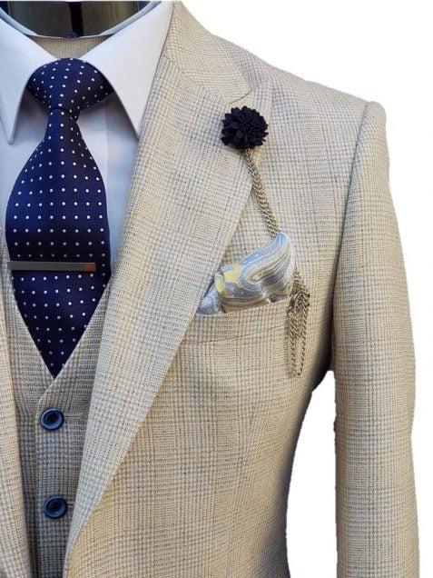 Mens Wedding 3 Piece Slim Fit Suit Cream Cavani Caridi - menswearr.com