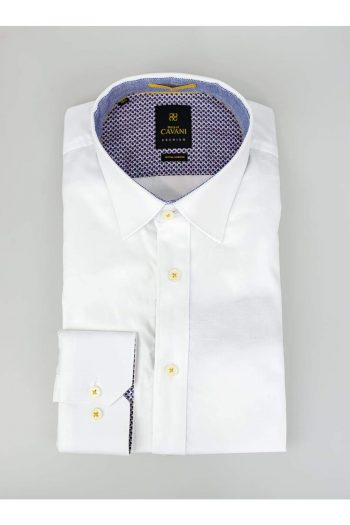 Mens White Oxford Stretch Shirt by Cavani - UK 14.5 | EU 37 - Shirts