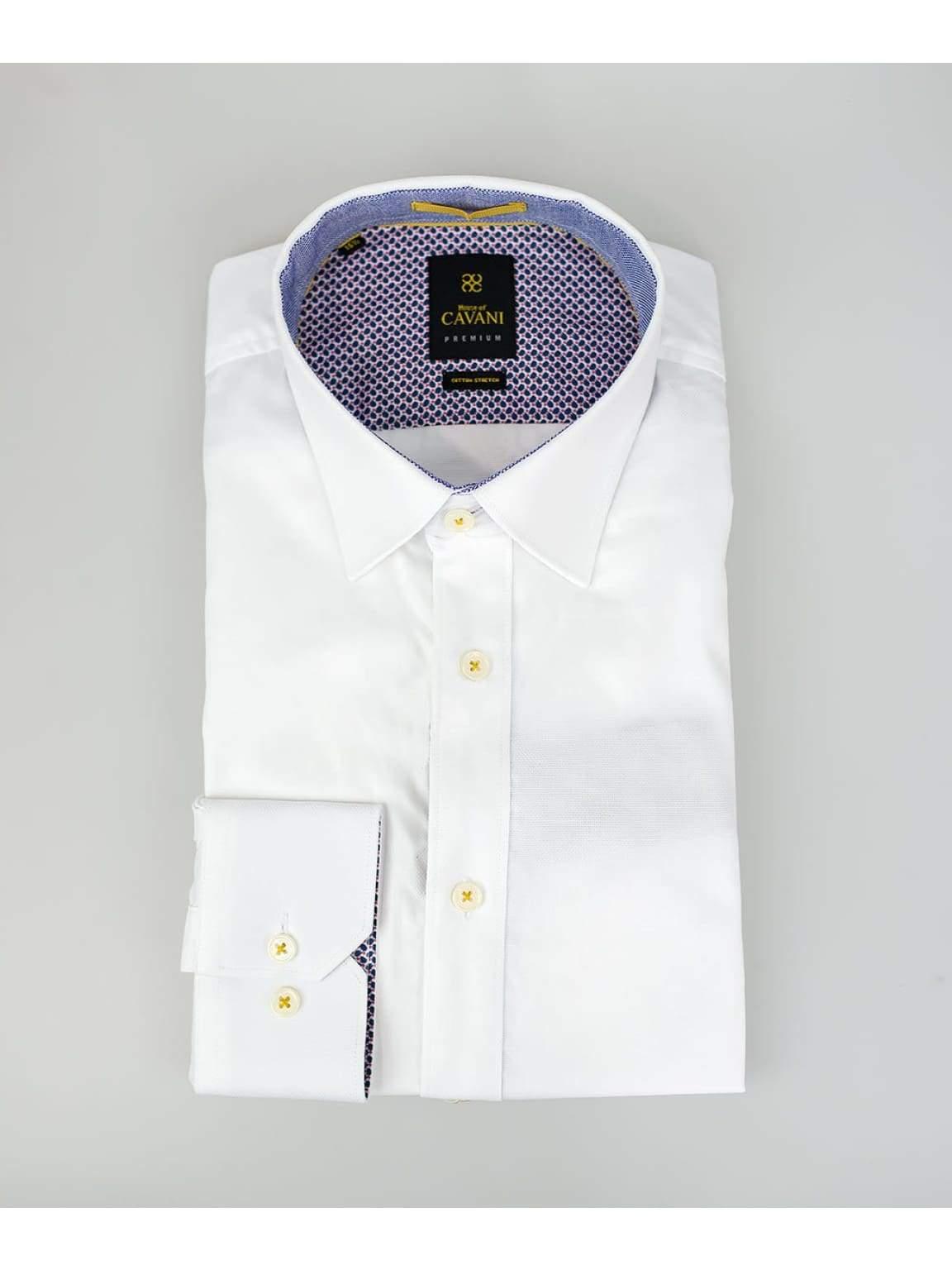 Mens White Oxford Stretch Shirt by Cavani - UK 14.5   EU 37 - Shirts