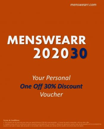 MENSWEARR 202030 - ONE OFF USE 30% Discount Voucher - Membership