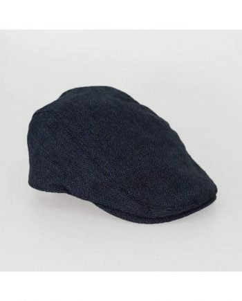 Navy Herringbone Flat Cap - S/M - Accessories