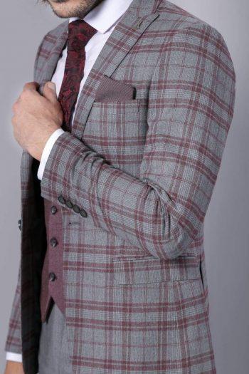 Nick Mens 3 Piece Grey Purple Tweed Check Style Suit - Suit & Tailoring