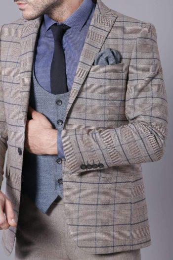 Rocco Mens 3 Piece Beige Blue Tweed Check Slim Fit Suit - 36R - Suit & Tailoring
