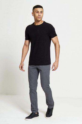 Sabre Slim Fit Stretch Chinos In Charcoal - Jeans