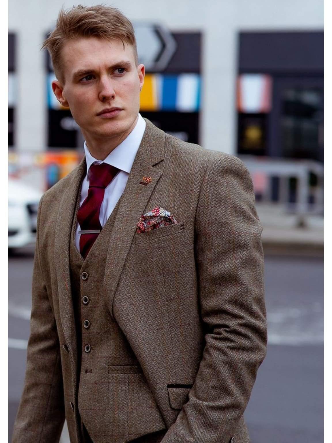 Sage Green Three Piece Check Slim Fit Tweed Suit Gaston by Cavani - Suit & Tailoring