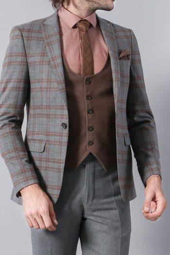 Simon Mens 3 Piece Grey Brown Mix & Match Slim Fit Suit - 36R - Suit & Tailoring