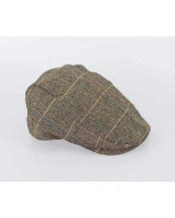 Tan Check Flat Cap - Accessories