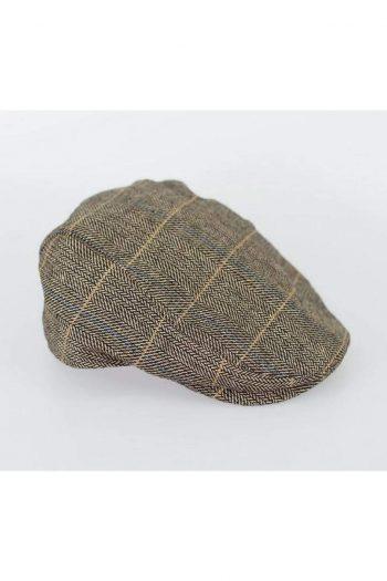 Tan Check Flat Cap - Accessories